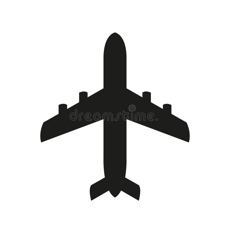 Ícone do preto do ícone do avião ilustração stock