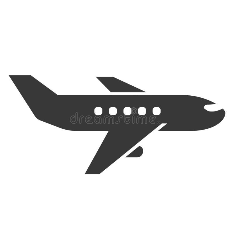 Ícone do preto do avião, transporte comercial para o voo ilustração stock