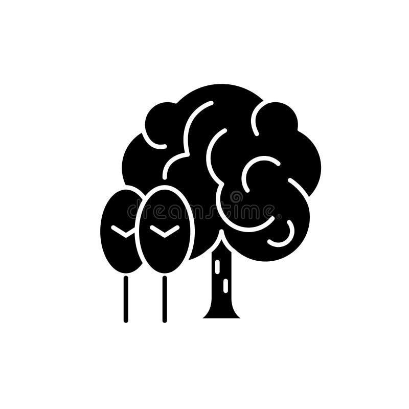 Ícone do preto do bosque, sinal do vetor no fundo isolado Símbolo do conceito do bosque, ilustração ilustração stock