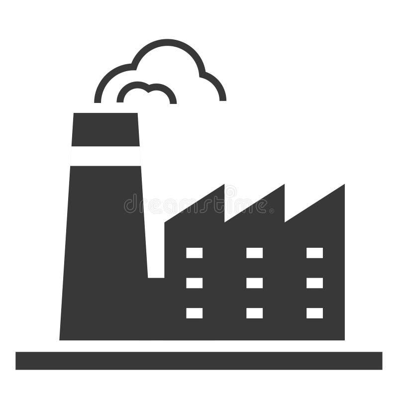 Ícone do preto da fábrica, produção e indústria de transformação ilustração royalty free