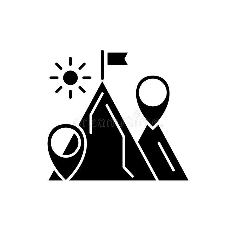 Ícone do preto da finalidade de negócio, sinal do vetor no fundo isolado Símbolo do conceito da finalidade de negócio, ilustração ilustração royalty free