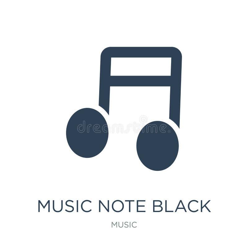 ícone do preto da nota da música no estilo na moda do projeto ícone do preto da nota da música isolado no fundo branco ícone do v ilustração stock