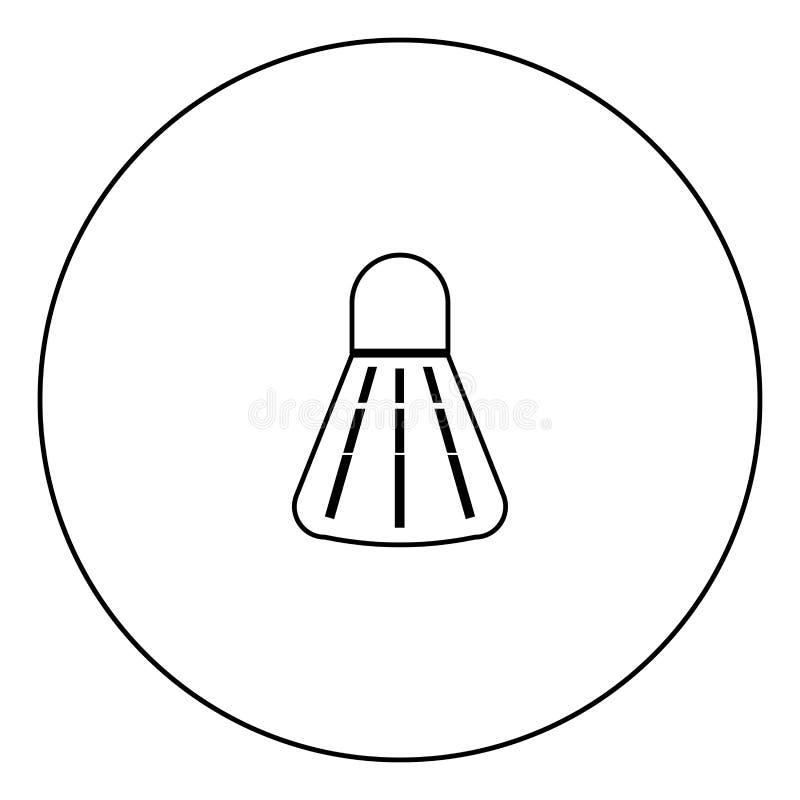 Ícone do preto da peteca do badminton no esboço do círculo ilustração royalty free