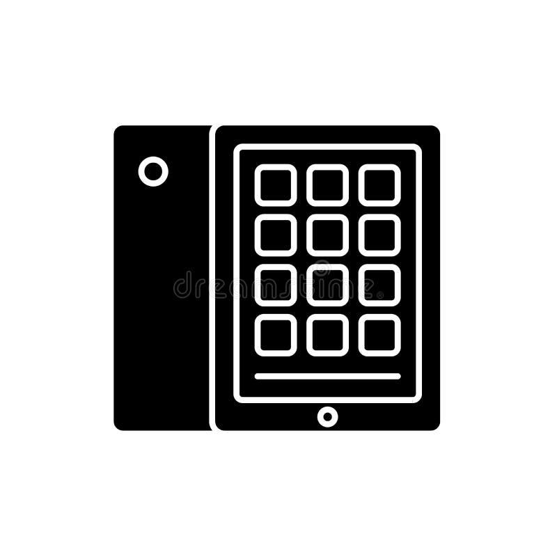 Ícone do preto da tabuleta e do caso, sinal do vetor no fundo isolado Símbolo do conceito da tabuleta e do caso, ilustração ilustração stock