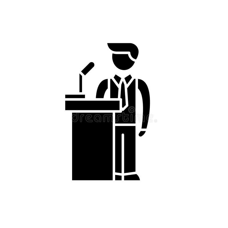 Ícone do preto do desempenho público, sinal do vetor no fundo isolado Símbolo do conceito do desempenho público, ilustração ilustração do vetor