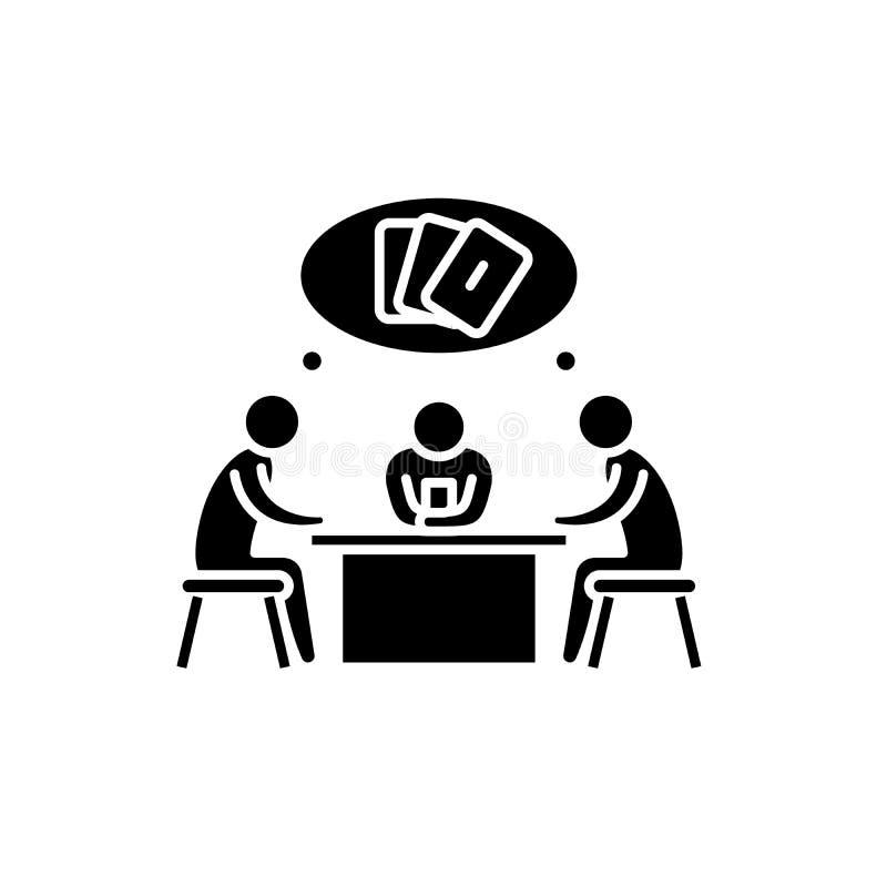 Ícone do preto do jogo de cartas, sinal do vetor no fundo isolado Símbolo do conceito do jogo de cartas, ilustração ilustração do vetor