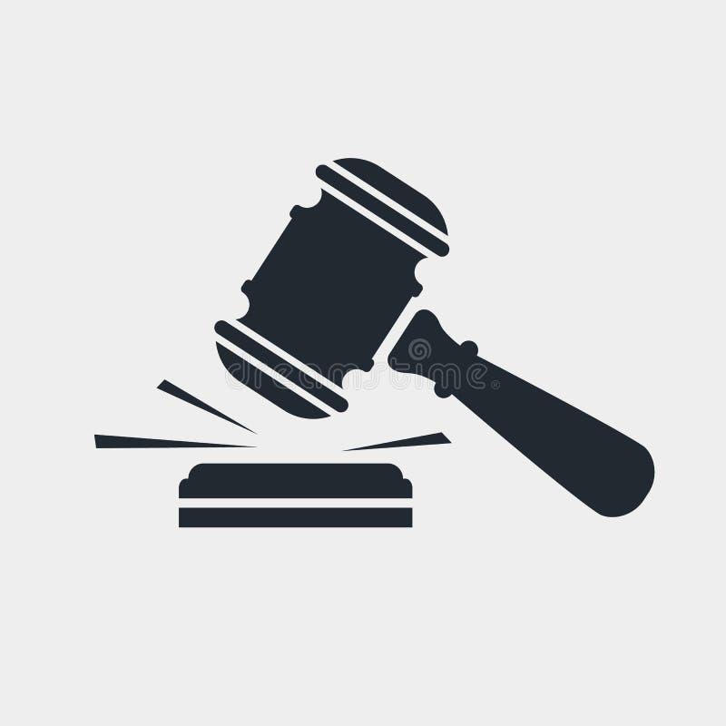 Ícone do preto do martelo do juiz ilustração stock