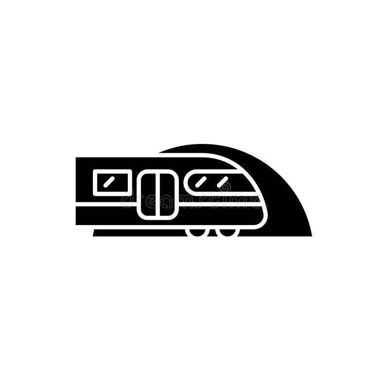Ícone do preto do metro, sinal do vetor no fundo isolado Símbolo do conceito do metro, ilustração ilustração stock