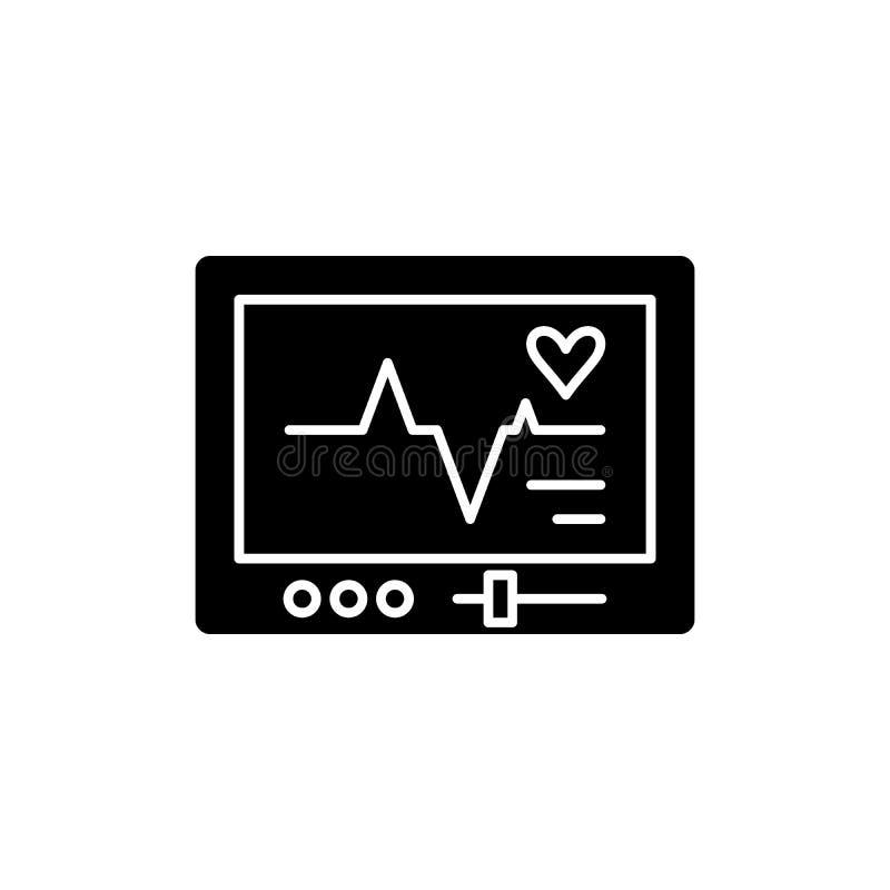 Ícone do preto do pacemaker, sinal do vetor no fundo isolado Símbolo do conceito do pacemaker, ilustração ilustração royalty free