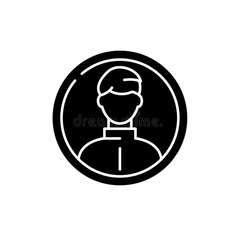 Ícone do preto do perfil do negócio, sinal do vetor no fundo isolado Símbolo do conceito do perfil do negócio, ilustração ilustração do vetor
