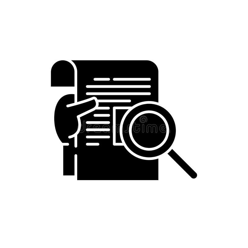 Ícone do preto do relatório da pesquisa, sinal do vetor no fundo isolado Símbolo do conceito do relatório da pesquisa, ilustração ilustração do vetor