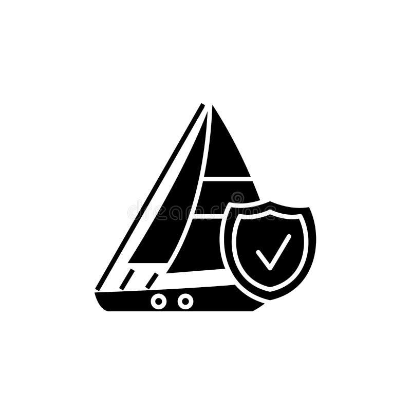 Ícone do preto do seguro do curso, sinal do vetor no fundo isolado Símbolo do conceito do seguro do curso, ilustração ilustração stock