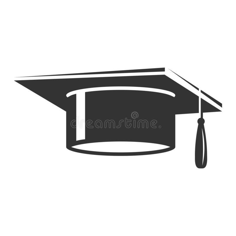 Ícone do preto do tampão do estudante da graduação, chapéu da cerimônia ilustração royalty free