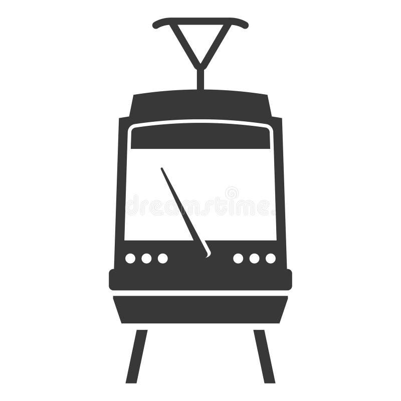 Ícone do preto do trem, símbolo elétrico da plataforma do metro ilustração do vetor