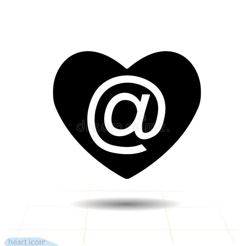 Ícone do preto do vetor do coração, símbolo do amor Correio no coração Sinal do dia de Valentim, emblema, estilo liso para o gráf ilustração stock