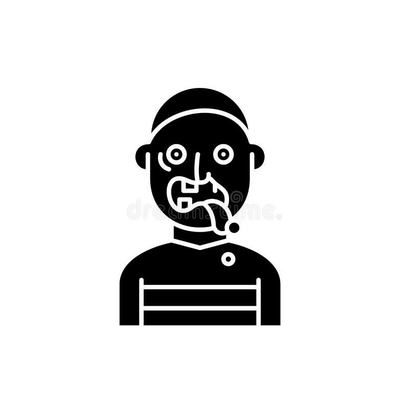 Ícone do preto do zombi, sinal do vetor no fundo isolado Símbolo do conceito do zombi, ilustração ilustração do vetor