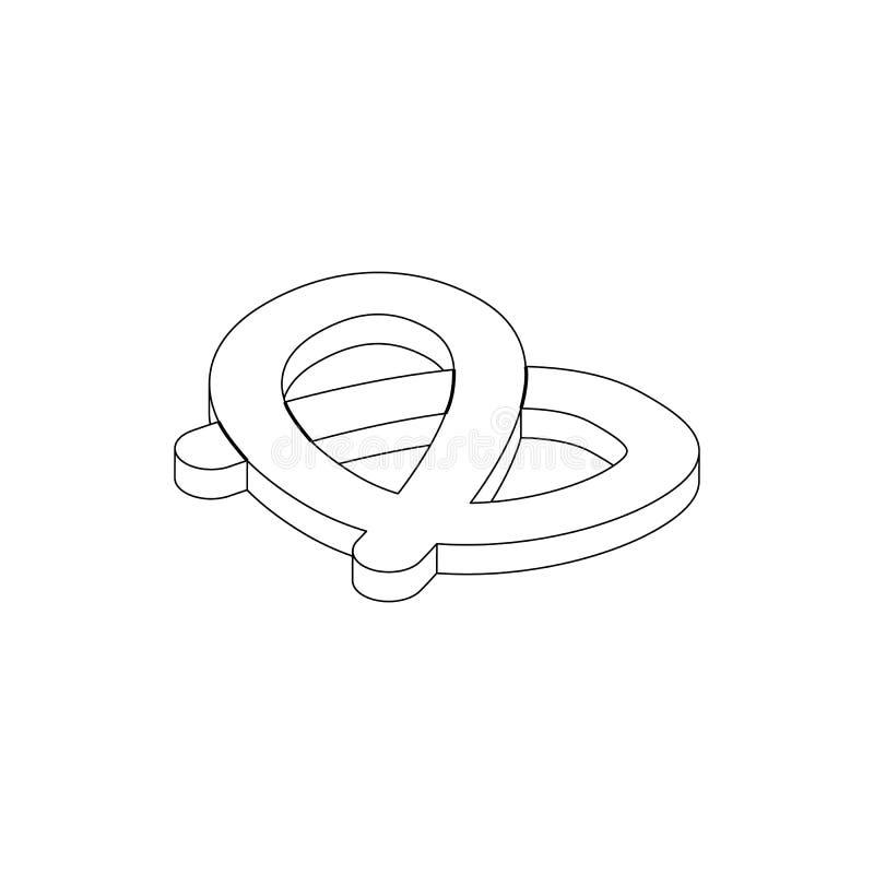 Ícone do pretzel, estilo 3d isométrico ilustração do vetor