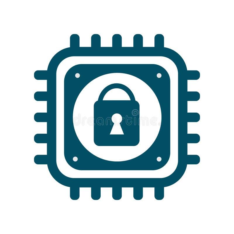 Ícone do processador central do vetor com segurança do cyber do sinal do fechamento ilustração do vetor