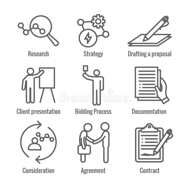 Ícone do processo de negócios novo ajustado com processo de oferecimento, proposta, contrato ilustração stock