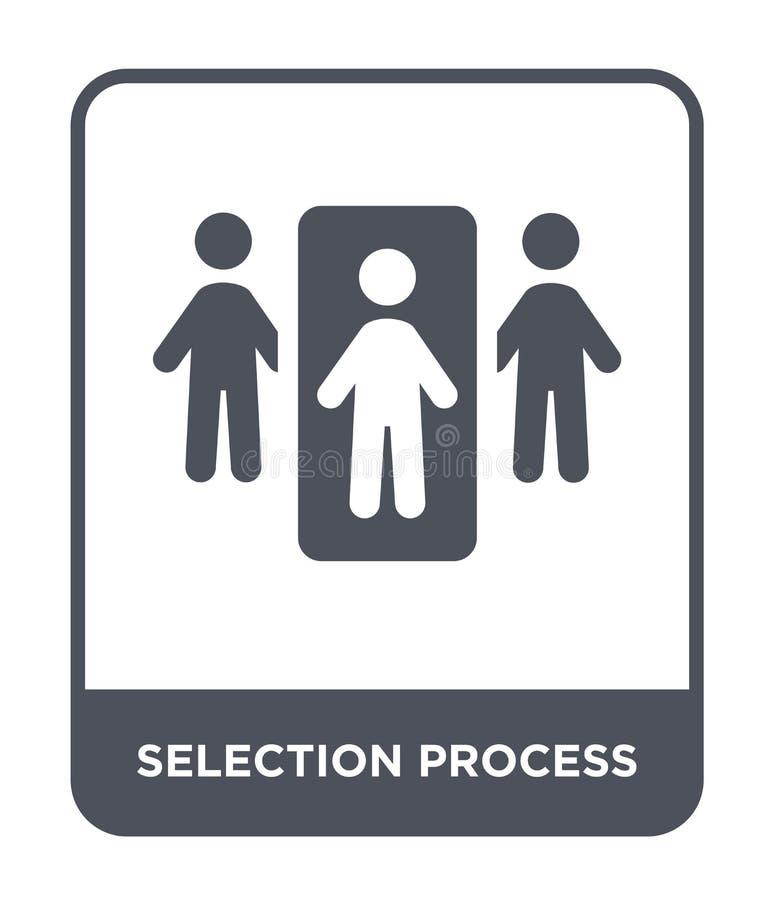 ícone do processo de seleção no estilo na moda do projeto ícone do processo de seleção isolado no fundo branco ícone do vetor do  ilustração stock