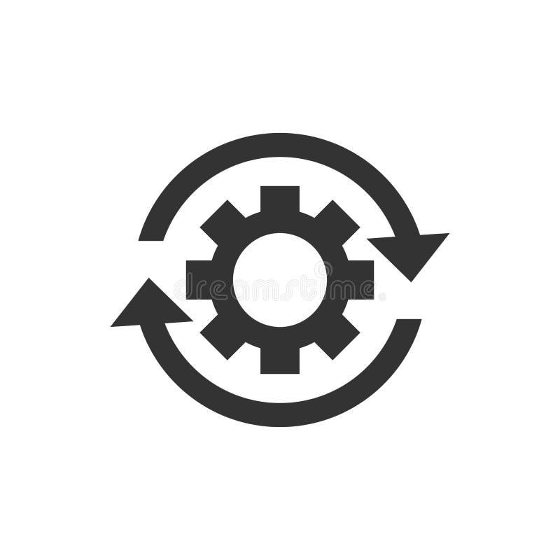 Ícone do processo dos trabalhos no estilo liso Roda da roda denteada da engrenagem com setas ilustração royalty free