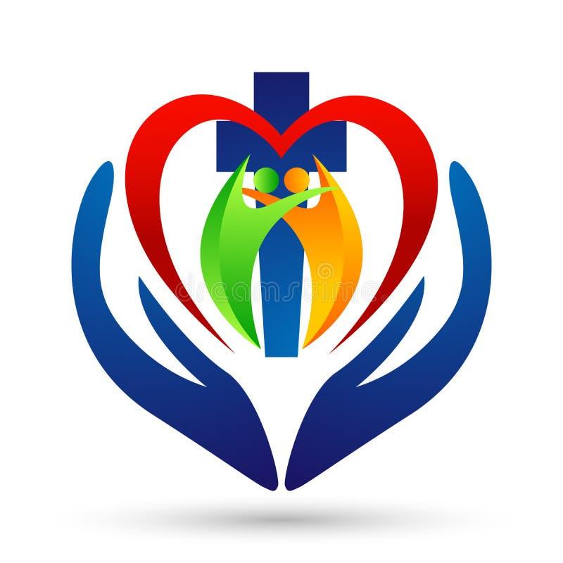 Ícone do projeto do logotipo do amor do coração do cuidado da mão da união dos povos da igreja da cidade no fundo branco ilustração do vetor