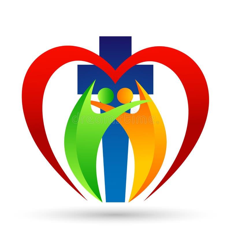 Ícone do projeto do logotipo do amor do coração do cuidado da união dos povos da igreja da cidade no fundo branco ilustração stock