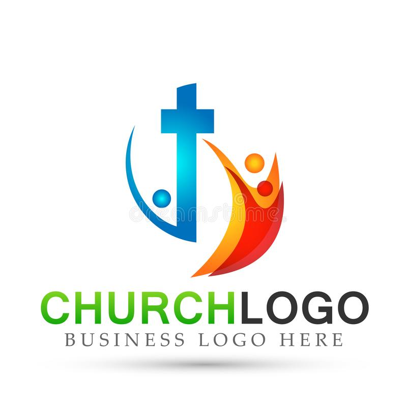 Ícone do projeto do logotipo do amor do cuidado da união dos povos da igreja da cidade no fundo branco ilustração do vetor