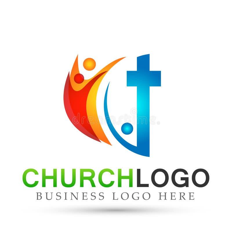 Ícone do projeto do logotipo do amor do cuidado da união dos povos da igreja da cidade no fundo branco ilustração royalty free