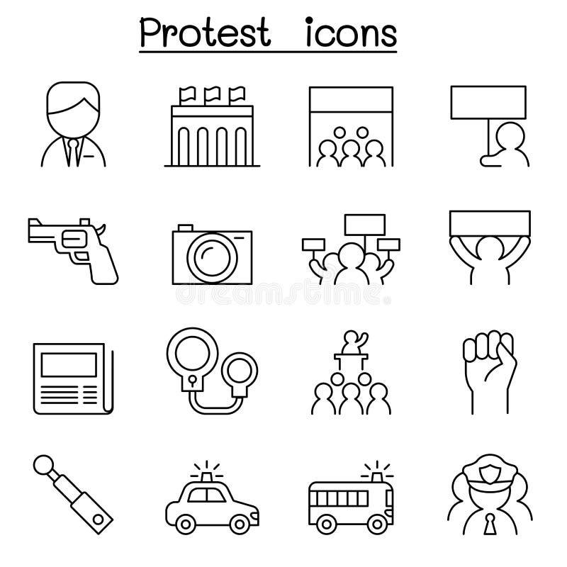 Ícone do protesto ajustado na linha estilo fina ilustração royalty free