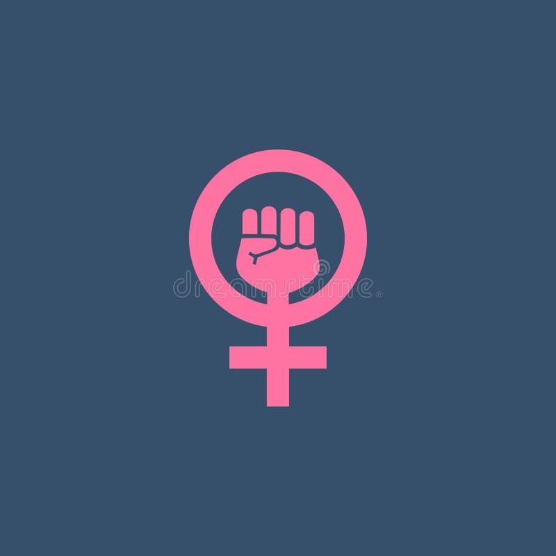 Ícone do protesto do feminismo ilustração stock