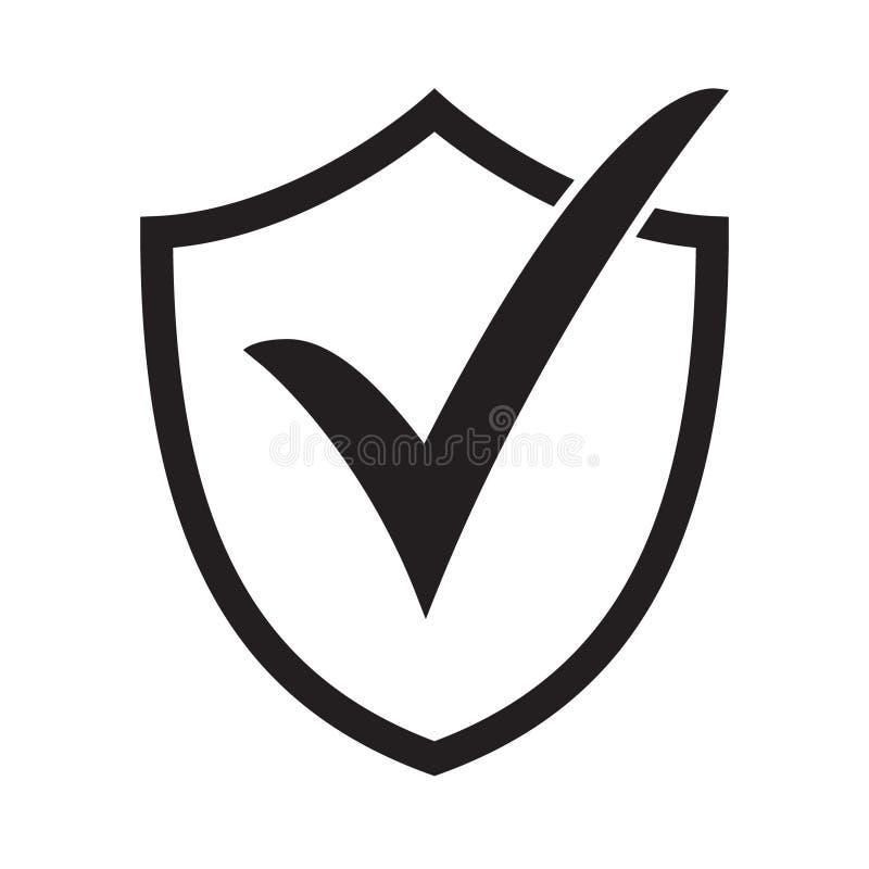 Ícone do protetor com marca de verificação ilustração royalty free