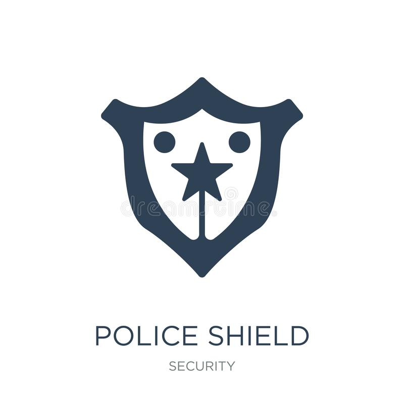 ícone do protetor da polícia no estilo na moda do projeto A polícia protege o ícone isolado no fundo branco ícone do vetor do pro ilustração do vetor