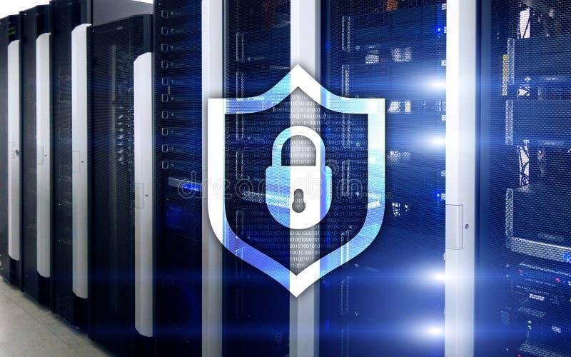 Ícone do protetor da proteção do Cyber no fundo da sala do servidor Segurança da informação e detecção do vírus ilustração do vetor