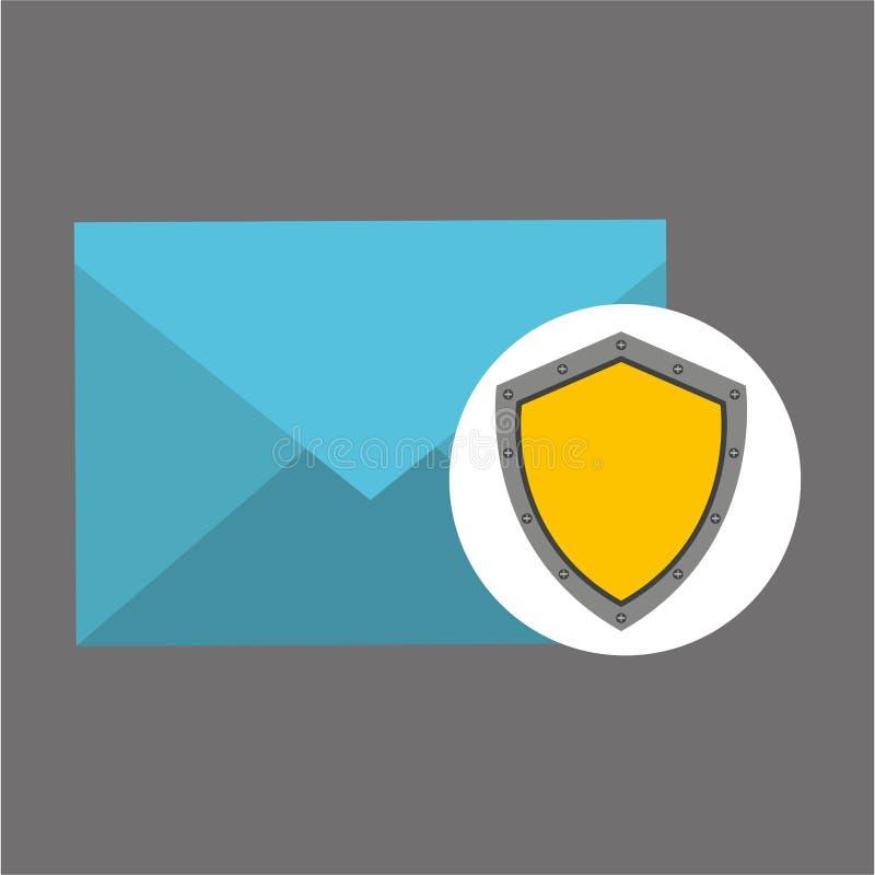 Ícone do protetor da proteção do conceito do email ilustração do vetor