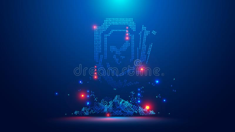 Ícone do protetor digital quebrado Corte digital da quebra da segurança do cyber do símbolo Crime da Web ou ataque do vírus Símbo ilustração stock