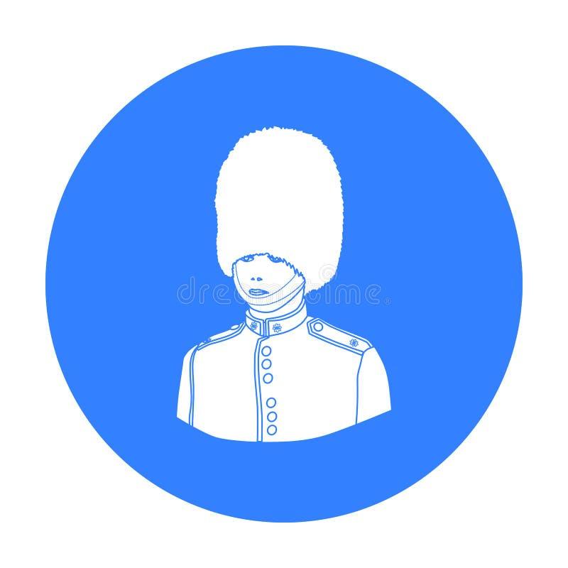 Ícone do protetor do ` s da rainha no estilo preto isolado no fundo branco Ilustração do vetor do estoque do símbolo do país de I ilustração royalty free