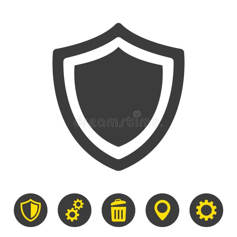 Ícone do protetor no fundo branco ilustração stock