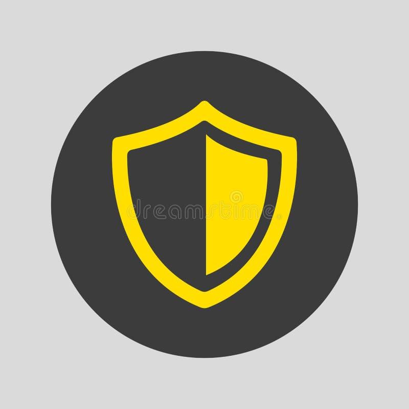 Ícone do protetor no fundo cinzento ilustração royalty free