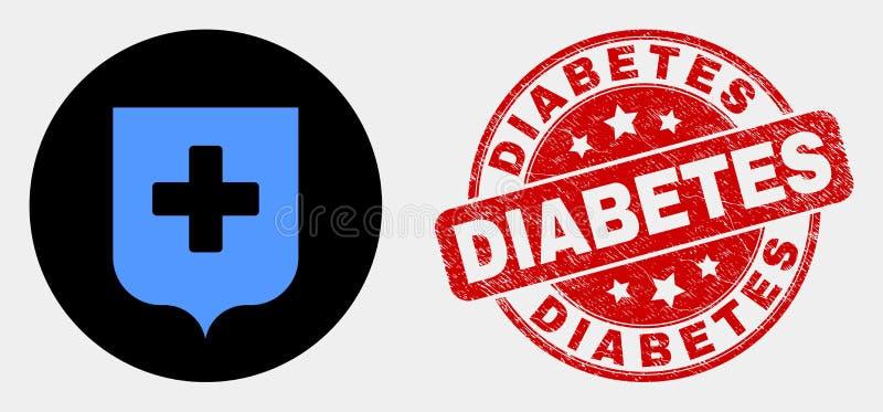 Ícone do protetor do vetor e selo médicos do diabetes do Grunge ilustração royalty free