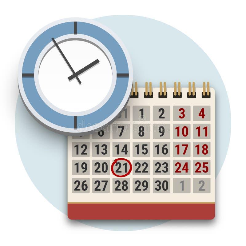 Ícone do pulso de disparo e do calendário Conceito da gestão do fim do prazo ou de tempo ilustração royalty free