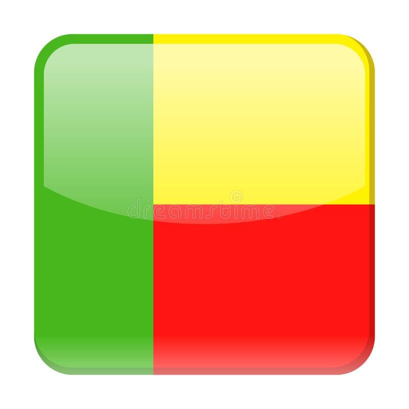 Ícone do quadrado do vetor da bandeira de Benin ilustração stock