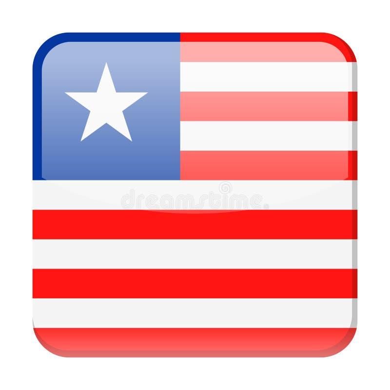 Ícone do quadrado do vetor da bandeira de Libéria ilustração royalty free