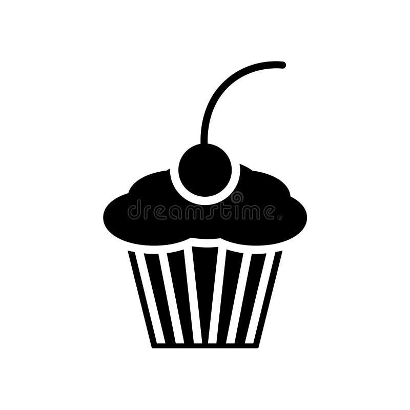 Ícone do queque símbolo do alimento do bolo Ilustração doce do sinal do vetor no branco ilustração stock