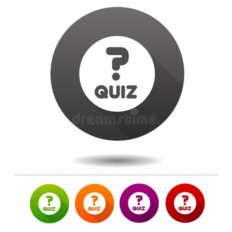 Ícone do questionário Sinal do símbolo do jogo das perguntas e resposta Botão da Web ilustração stock