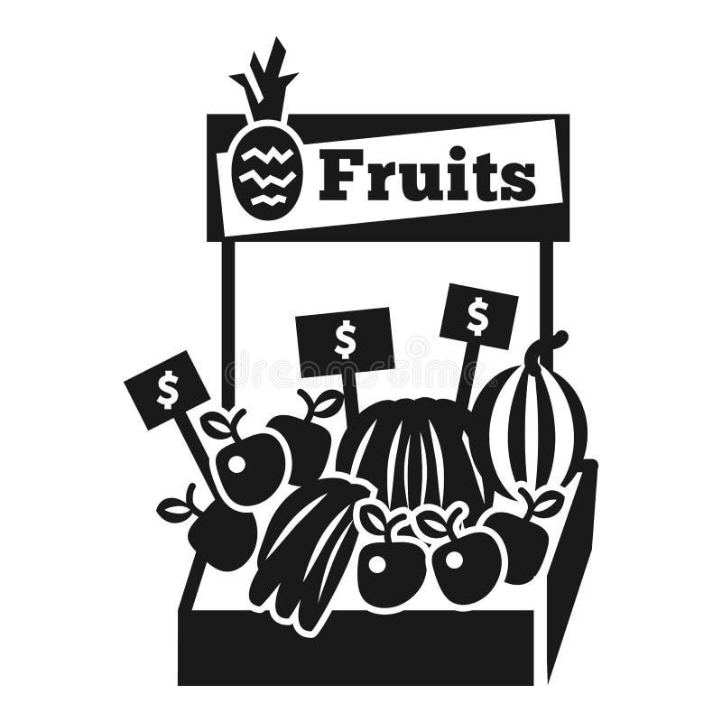 Ícone do quiosque do fruto, estilo simples ilustração do vetor