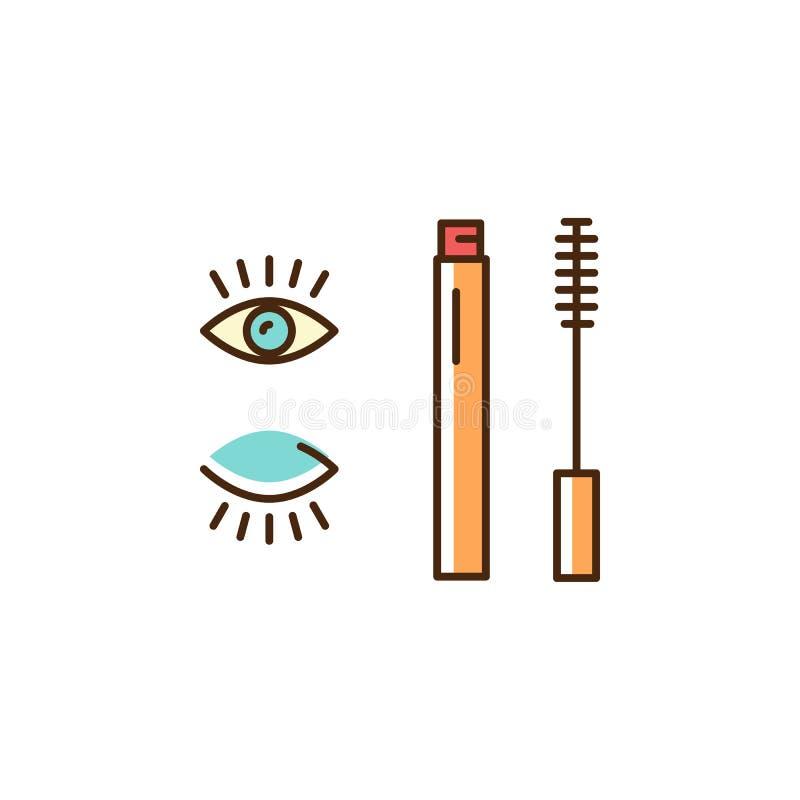 Ícone do rímel, composição decorativa do olho A linha fina projeto colorido da arte, Vector a ilustração lisa ilustração do vetor