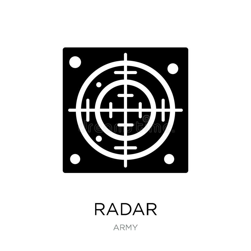 ícone do radar no estilo na moda do projeto Ícone do radar isolado no fundo branco símbolo liso simples e moderno do ícone do vet ilustração do vetor