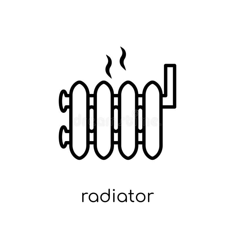 Ícone do radiador Ícone linear liso moderno na moda do radiador do vetor sobre ilustração stock