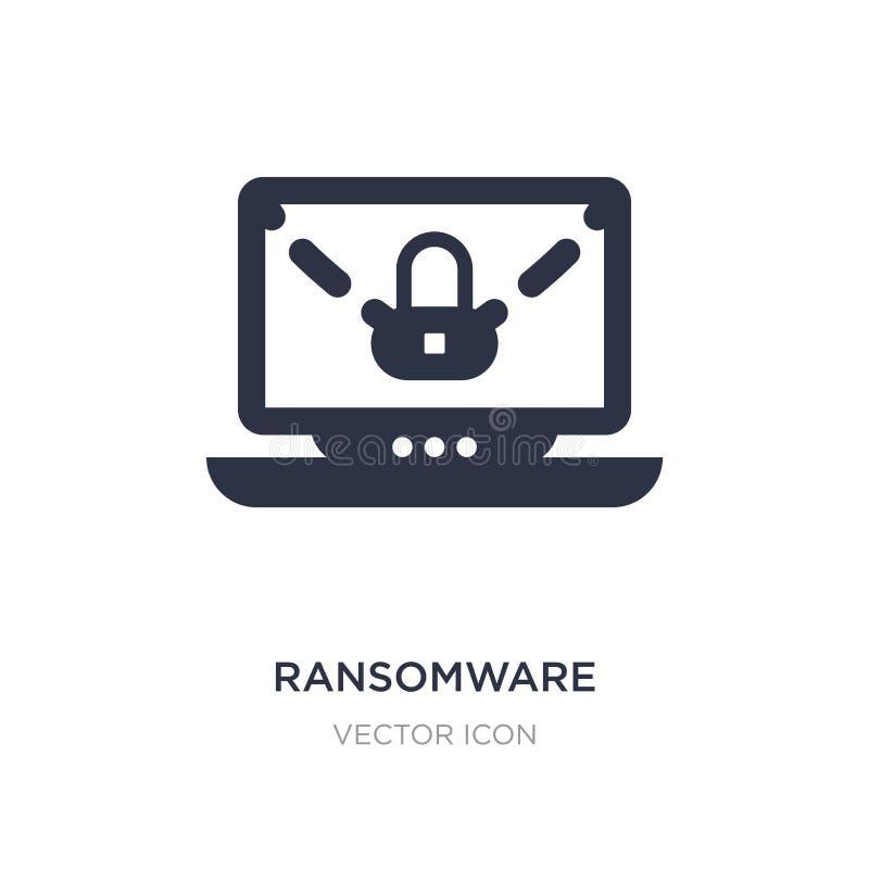 ícone do ransomware no fundo branco Ilustração simples do elemento do conceito do Cyber ilustração stock